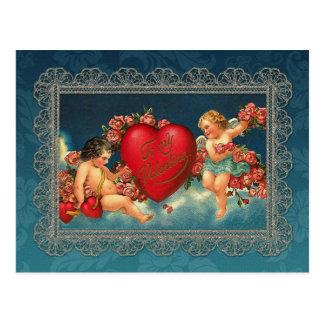 Vintage Cherubs and Valentine Heart Postcard