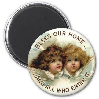 Vintage Cherubs Bless Our Home Magnet