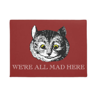 Vintage Cheshire Cat All Mad Here Doormat