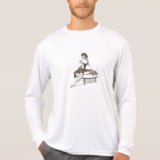 Vintage Chess Pin Up Girl Outline T-Shirt