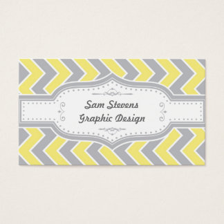 Vintage Chevron, Grey & Yellow Business Card
