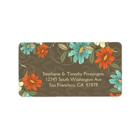 Vintage chic aqua orange cream flora address label