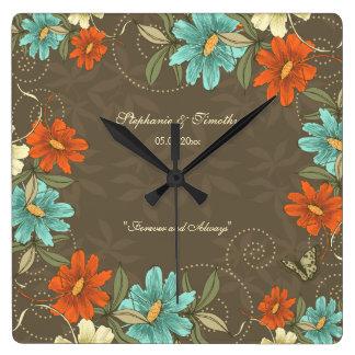 Vintage chic aqua orange cream floral wedding square wall clock
