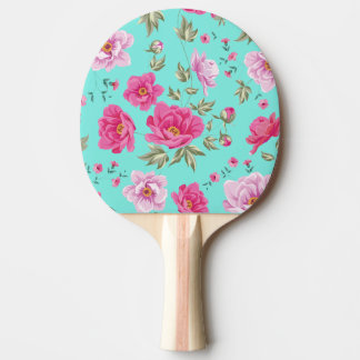 Vintage chic bright teal rose floral pattern girly ping pong paddle