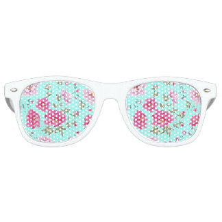 Vintage chic bright teal rose floral pattern party shades