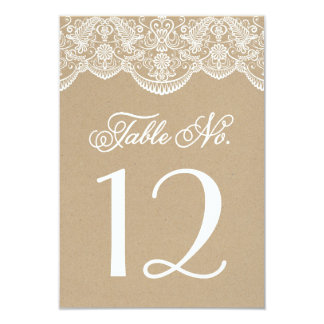Vintage Chic Brocade Lace Table Number Cards