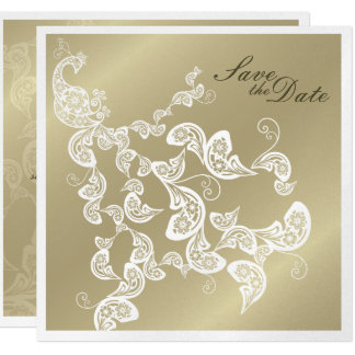 Vintage Chic Elegant Floral Peacock Save The Date Card