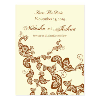 Vintage Chic Elegant Floral Peacock Save The Date Postcard