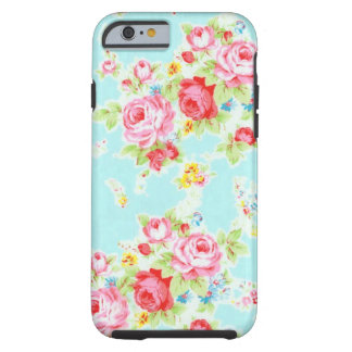 Vintage chic floral roses blue rose flowers shabby tough iPhone 6 case