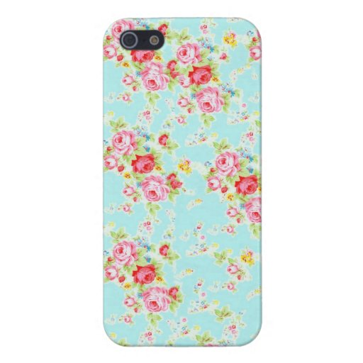 Vintage chic floral roses blue shabby rose flowers cover for iPhone 5