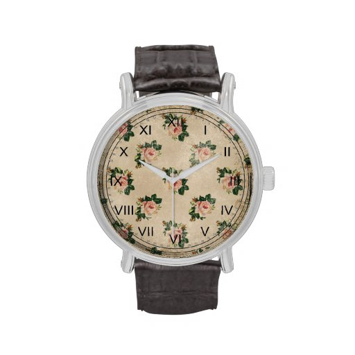 Vintage chic floral roses shabby boho rose flowers wrist watch