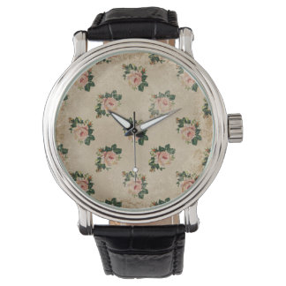 Vintage chic floral roses shabby boho rose flowers watch