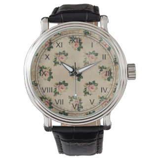 Vintage chic floral roses shabby boho rose flowers wristwatches
