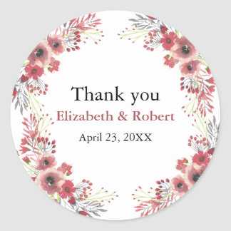 Vintage Chic Floral Wreath Wedding Thank You Classic Round Sticker