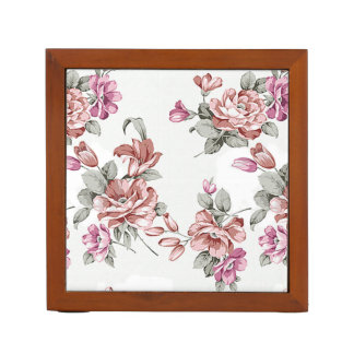 Vintage Chic Girly  Flowers-Personalized Desk Organizer