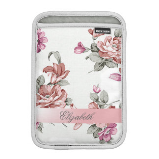 Vintage Chic Girly  Flowers-Personalized iPad Mini Sleeve