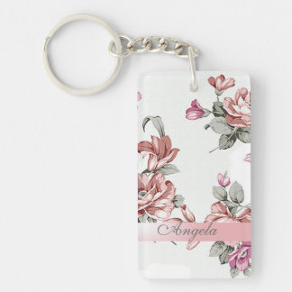 Vintage Chic Girly  Flowers-Personalized Keychain