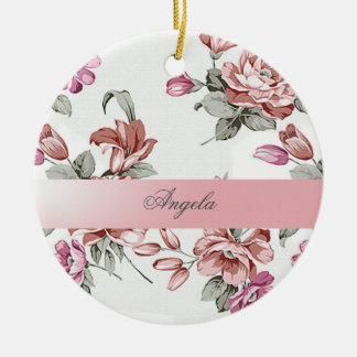 Vintage Chic Girly  Flowers-Personalized Round Ceramic Ornament