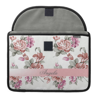Vintage Chic Girly  Flowers-Personalized Sleeve For MacBook Pro