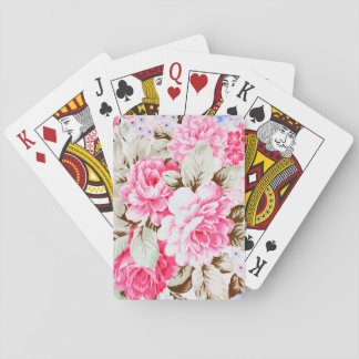 Vintage Chic Pink Flowers Floral Playing Cards
