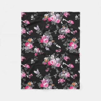 Vintage chic pink gray black flowers pattern fleece blanket