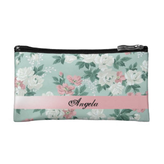 Vintage Chic Shabby Flowers-Personalized Cosmetic Bag