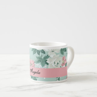 Vintage Chic Shabby Flowers-Personalized Espresso Cup