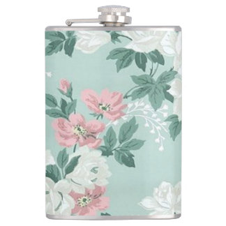 Vintage Chic Shabby Flowers-Personalized Flask