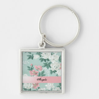 Vintage Chic Shabby Flowers-Personalized Keychain