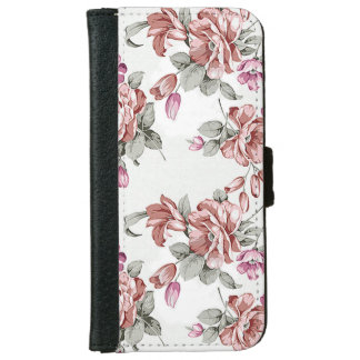 Vintage Chic  Shabby Girly Flowers iPhone 6 Wallet Case