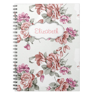 Vintage Chic  Shabby Girly Flowers-Personalized Notebook