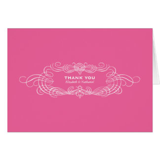 Vintage Chic Thank You Card in Pink