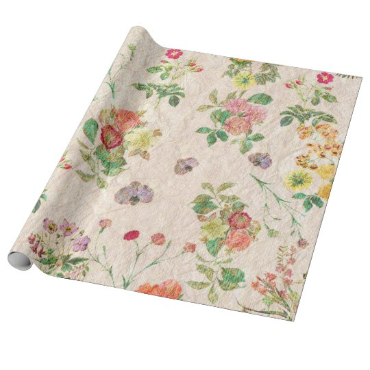Vintage chic yellow pink cute floral pattern