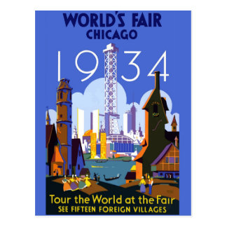 Vintage Chicago 1934 World's Fair Poster Postcard