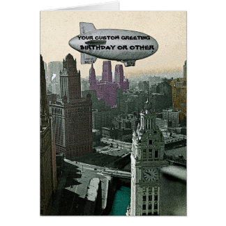 VINTAGE CHICAGO BLIMP OVER CITY COMIC BIRTHDAY PIC CARD