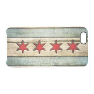 Vintage Chicago Flag Distressed Wood Look Clear iPhone 6/6S Case