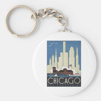 Vintage Chicago Illinois Basic Round Button Keychain