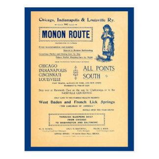 Vintage Chicago Indianopolis Louisville Railway ad Postcard