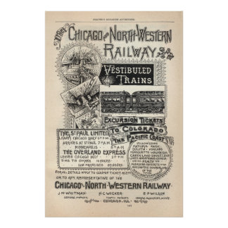 Vintage Chicago North Western Railway Ad from 1888 Poster