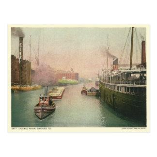 Vintage Chicago River Postcard