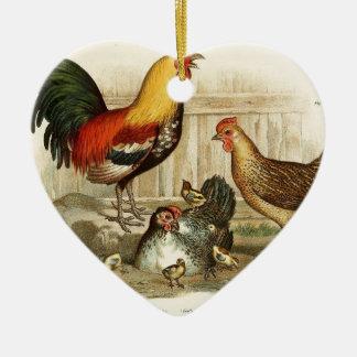Vintage Chicken family illustration Ceramic Heart Ornament
