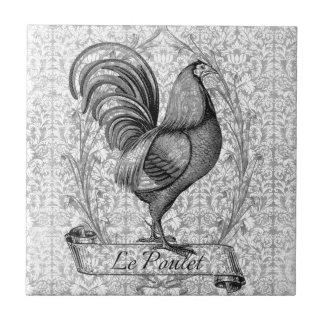 Vintage Chicken Illustration Ceramic Tile