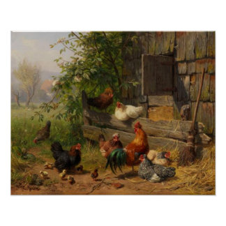 Vintage Chickens and Rooster Country wall decor
