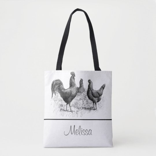 Vintage Chickens and Rooster | Personalized Tote Bag