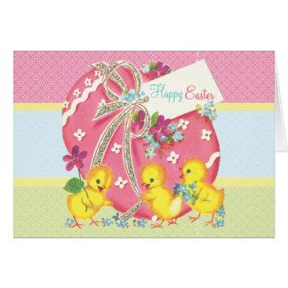 Vintage Chicks and Pink Easter Egg Custom Message Card