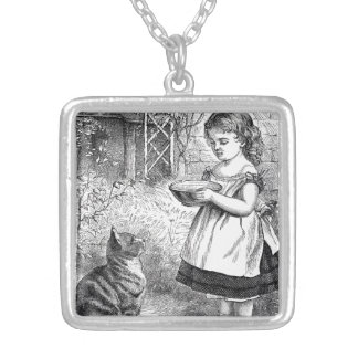 Vintage Child and Cat Silver Plated Necklace