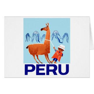 Vintage Child and Llama Peru Travel Poster Card