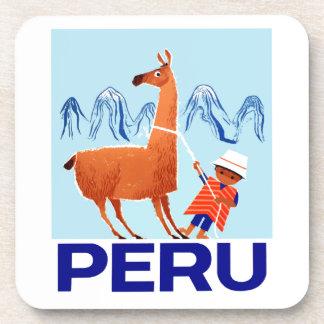 Vintage Child and Llama Peru Travel Poster Coaster