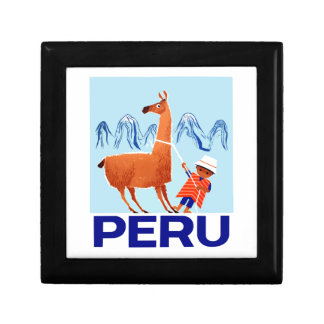 Vintage Child and Llama Peru Travel Poster Gift Box