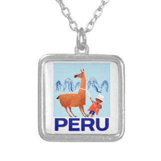 Vintage Child and Llama Peru Travel Poster Silver Plated Necklace